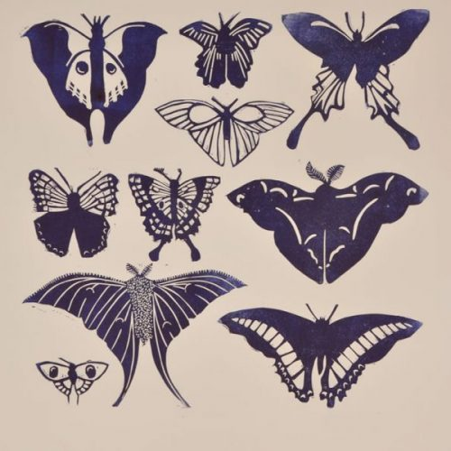 Blue And White Butterflies – Linocut
