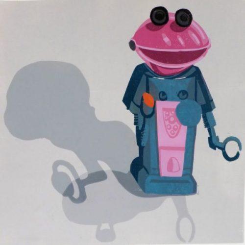 Smash Man – 12 Colour Reduction Linocut