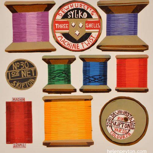 Bobbins – 25 Colour Reduction Linocut