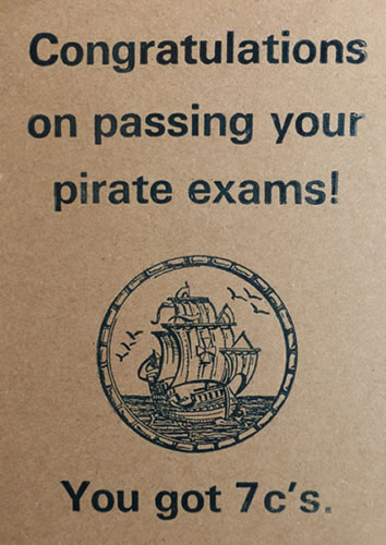 Letterpress Card – Pirate Exams