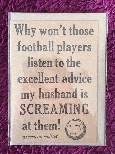 Letterpress Card – Football Fan